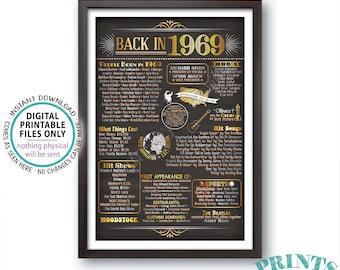 """Back in 1969 Poster Board, Remember 1969 Flashback Birthday Anniversary Reunion, USA History, PRINTABLE 24x36"""" Sign <ID>"""