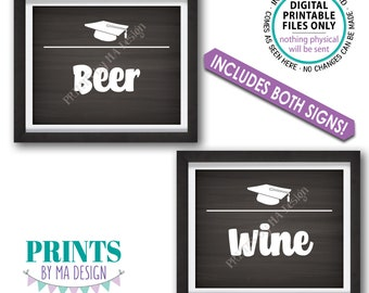 """Beverage Station Signs, Graduation Party Drink Signs, Beer & Wine Signs, Two Chalkboard Style PRINTABLE 8x10"""" Grad Signs <ID>"""