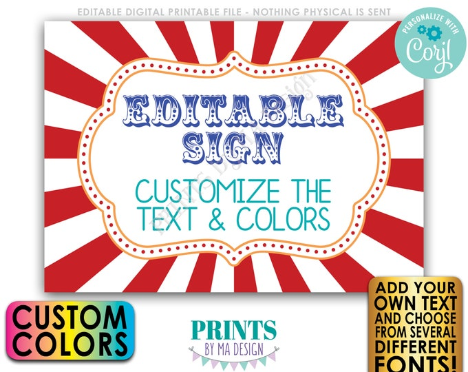 """Custom Carnival Sign, Editable Carnival or Circus Theme Sign, Birthday Party, One PRINTABLE 5x7"""" Sign <Edit Yourself with Corjl>"""