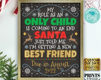Christmas Pregnancy Announcement, My Role as an Only Child is Coming to an End, PRINTABLE Baby #2 Reveal Sign <Edit Yourself with Corjl>
