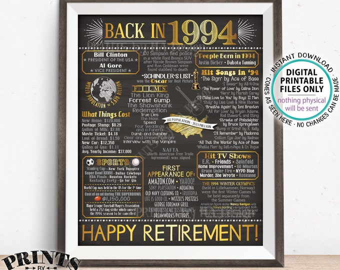 """Retirement Party Decorations, Back in 1994 Poster, Flashback to 1994 Retirement Party Decor, PRINTABLE 16x20"""" Sign <ID>"""