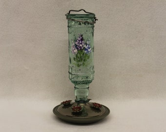 Small Green Humming bird Feeder, Hand painted with Lilacs and leaves, 4 feeding ports