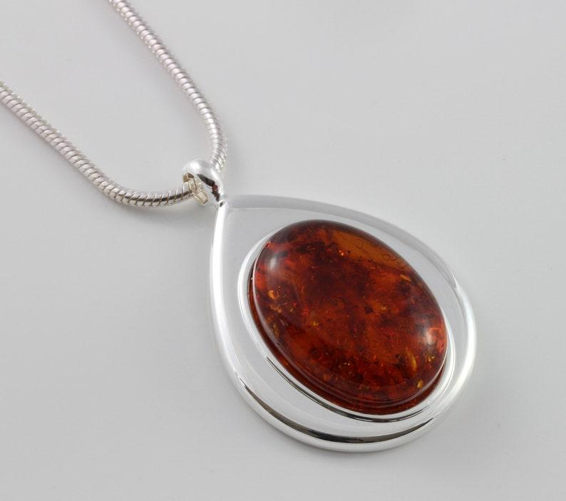 Natural Amber cabochon teadrop pendant