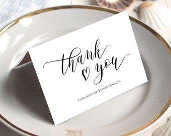 PDF Template 5x3.5 tent flat and tent style card Thank You card INSTANT DOWNLOAD Wedding calligraphy Thank You Note Cards Printable Digital