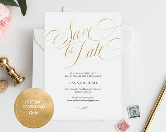 0343601037c52 Editable PDF Template 5x7 Save the Date INSTANT DOWNLOAD Wedding Save the  date calligraphy save the date Cards Printable Gold #DP230_30