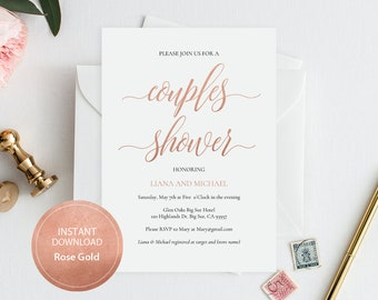 Editable PDF Template 5x7 Couples Shower Invitation INSTANT DOWNLOAD Calligraphy Wedding Shower Invitation Printable Rose Gold #DP140_56