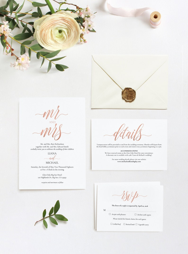 3.5x5 RSVP Rose Gold #DP140/_S1 Wedding Invitation Set Pdf Template INSTANT DOWNLOAD Editable Wedding Bundle 5x7 Invitation,4x6 Details