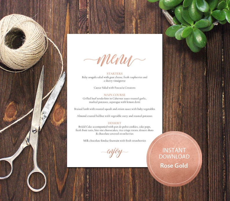 PDF Template 5x7 Menu Wedding Bridal Shower INSTANT DOWNLOAD Rose Gold Diy  Table Menu calligraphy Editable Menu Printable Digital #DP140_21