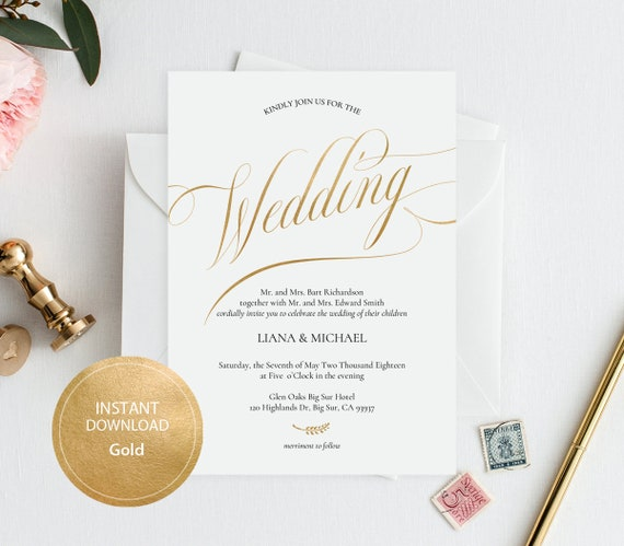 instant download pdf template 5x7 invitation wedding etsy