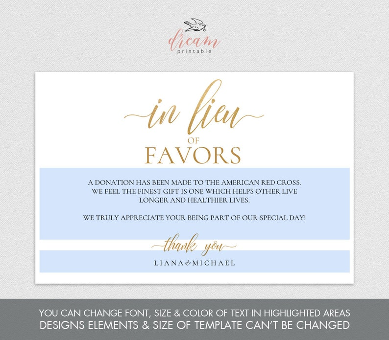 Editable PDF Template 4x6 In Lieu of Favors Favours Sign INSTANT DOWNLOAD Calligraphy Donation Sign Wedding favor printable Gold #DP130/_44