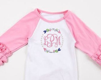 Arrow Circle Monogram Newborn Girl Coming Home Outfit/ Newborn Gown/ Baby Shower Gift/ Monogrammed Baby/ Personalized Baby
