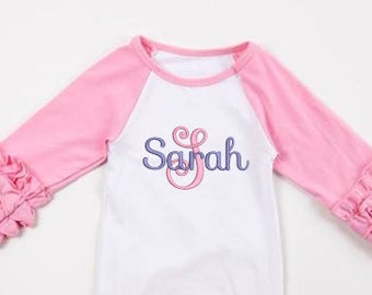 Name with Initial Newborn Gown/  Newborn Girl Coming Home Outfit/ Baby Shower Gift/ Monogrammed Baby/ Personalized Baby