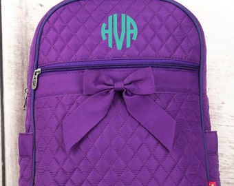 Purple Quilted Preschool Backpack Mini Backpack Purse Toddler Diaper Bag Backpack Small Backpack
