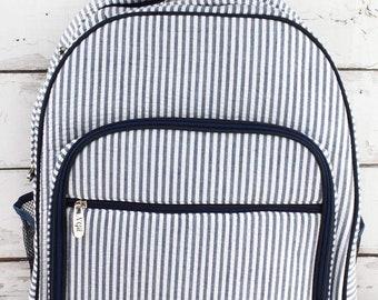 Navy Striped Seersucker Oversized Backpack for Teens Backpack Kids