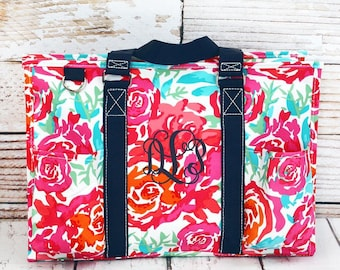 Watercolor Blossom Diaper Bag/ Craft Tote With Pockets/ Tote Bag Personalized/ Monogrammed Diaper Bag/ Utility Tote/ Camera Bag