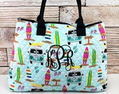 Surfs Up Over Shoulder Quilted Purse For Women Quilted Tote Bag Matching Purse and Wallet Quilted Shoulder Bag