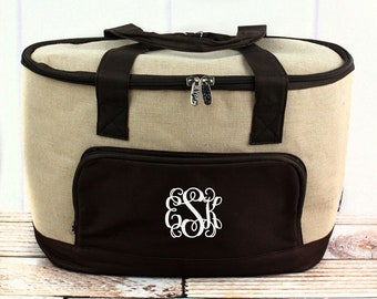 Khaki Juco Crosshatch Mini Soft Sided Insulated Cooler Beverage Tote Cooler Tote Bag