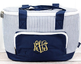 Navy Striped Seersucker Mini Soft Sided Insulated Cooler Beverage Tote Cooler Tote Bag