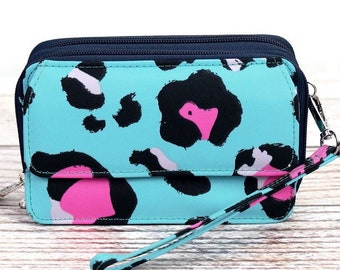 Leopard Lounge Organizing Clutch Crossbody/ Crossbody Handbag/ Crossbody Purse/ Over Shoulder Canvas Bag/ Mother's Day Gift/ Gift for Mom