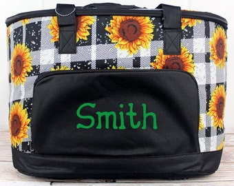 Sunflower Plaid Soft Sided Insulated Cooler Beverage Tote Cooler Tote Bag