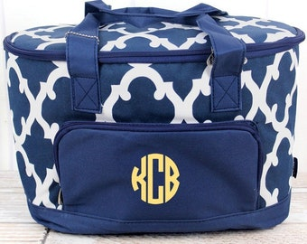 Navy Moroccan Mini Soft Sided Insulated Cooler Beverage Tote Cooler Tote Bag