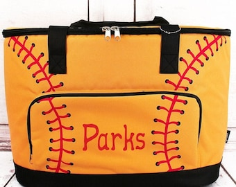 Softball Laces Soft Sided Insulated Cooler Beverage Tote Cooler Tote Bag