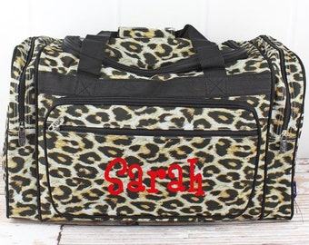 """Leopard 23"""" Duffle Bag Personalized Cheer Bag Kids Duffle Bag Gym Bag Girlie Carry On"""