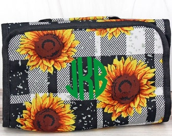 Sunflower Plaid Roll Up Cosmetic Clutch Cosmetic Organizer Makeup Bag Teen Girl Gifts