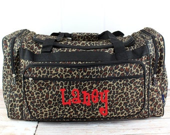 """Leopard Love 23"""" Duffle Bag Personalized Cheer Bag Kids Duffle Bag Gym Bag Girlie Carry On"""