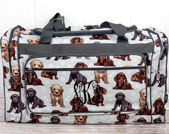"""Puppy Love 23"""" Duffle Bag Personalized Cheer Bag Kids Duffle Bag Gym Bag Girlie Carry On"""