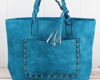Faux Leather Studded Front Pocket in Various Colors Over Shoulder Tote/ Over Shoulder Handbag