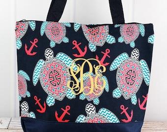 Preppy Under The Sea Wide Tote Bag/ Over Shoulder Purse/ Over Shoulder Bag/ Beach Bag/ Weekender Bag