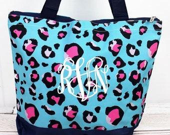 Leopard Lounge Wide Tote Bag/ Over Shoulder Purse/ Over Shoulder Bag/ Beach Bag/ Weekender Bag