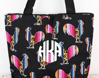 Wild Serape Roosters Wide Tote Bag/ Over Shoulder Purse/ Over Shoulder Bag/ Beach Bag/ Weekender Bag