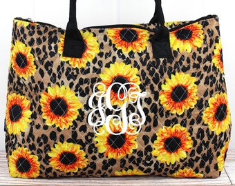 Sunflower Leopard Over Shoulder Quilted Purse For Women Quilted Tote Bag Matching Purse and Wallet Quilted Shoulder Bag