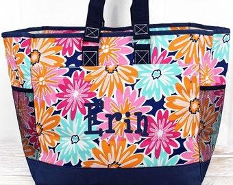 Vibrant Flowers Twin Diaper Bag Nursing Tote Bag Zippered Tote Bag Baby Shower