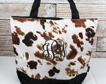 Till The Cows Come Home With Black Trim Wide Tote Bag/ Over Shoulder Purse/ Over Shoulder Bag/ Beach Bag/ Weekender Bag