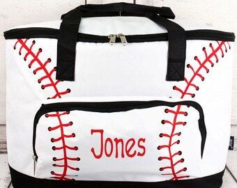 Baseball Laces Soft Sided Insulated Cooler Beverage Tote Cooler Tote Bag