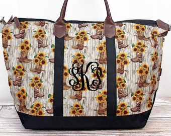 Boot Bouquet Wide Tote Bag/ Over Shoulder Purse/ Over Shoulder Bag/ Beach Bag/ Weekender Bag