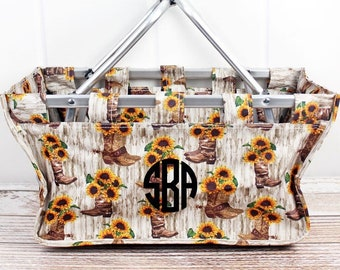 Boot Boutique Farmers Market Bag Grocery Tote Bag Eco Friendly Bag Picnic Basket