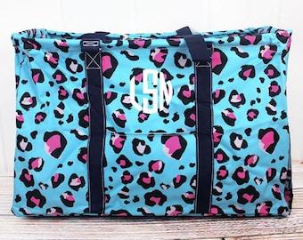 Leopard Lounge Extra Large Eco Friendly Bag Farmers Market Bag Toy Basket