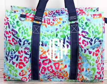 Chasing Rainbows Monogrammed Diaper Bag Personalized Gift For Baby Shower Diaper Bag for Twins Zippered Tote Bag