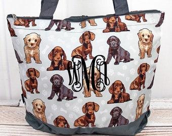Puppy Love Wide Tote Bag/ Over Shoulder Purse/ Over Shoulder Bag/ Beach Bag/ Weekender Bag