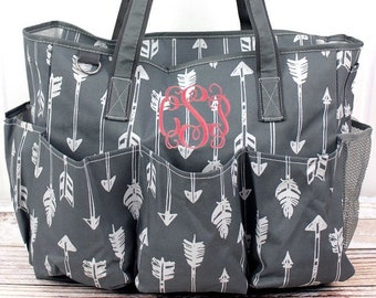 Straight & Arrow Gray Diaper Bag Gift For Baby Shower Zippered Tote Bag