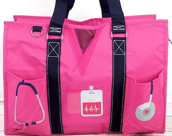 Scrub Life Hot Pink Nurse Monogrammed Diaper Bag Personalized Gift For Baby Shower Diaper Bag for Twins Zippered Tote Bag