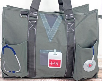 Scrub Life Gray Nurse Monogrammed Diaper Bag Personalized Gift For Baby Shower Diaper Bag for Twins Zippered Tote Bag