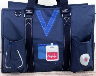 Scrub Life Navy Nurse Monogrammed Diaper Bag Personalized Gift For Baby Shower Diaper Bag for Twins Zippered Tote Bag
