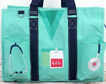 Scrub Life Mint Nurse Monogrammed Diaper Bag Personalized Gift For Baby Shower Diaper Bag for Twins Zippered Tote Bag