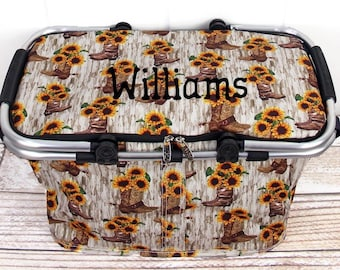Boot Bouquet Insulated Farmers Market Bag Grocery Tote Bag Eco Friendly Bag Picnic Basket