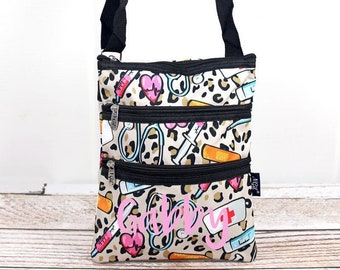 Wild About Nursing Crossbody Handbag / Crossbody Purse / Over Shoulder Canvas Bag / Monogrammed Purse / Personalized Purse /   Purse Handbag